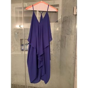 Purple drapey low cut dress with spaghetti straps